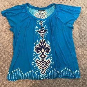 Beautiful Aqua Blue Flutter Sleeve Blouse Size 1X